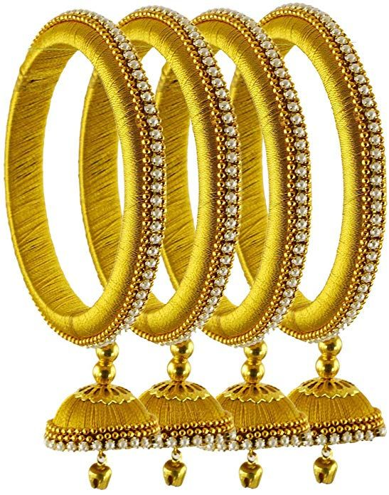 Pin By Chandru On Architecture: Womens Trendz Yellow Silk Thread Bangles For Women -Set Of
