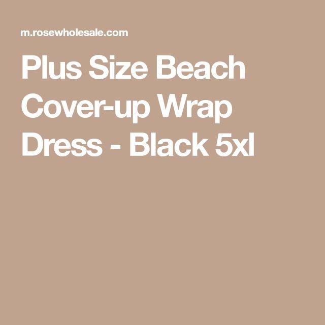 Plus Size Beach Cover-up Wrap Dress - Black 5xl