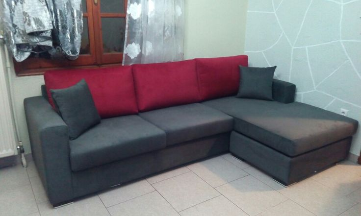 Grey and red corner sofa!