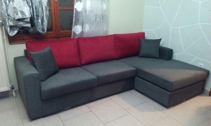 Grey and red corner sofa!