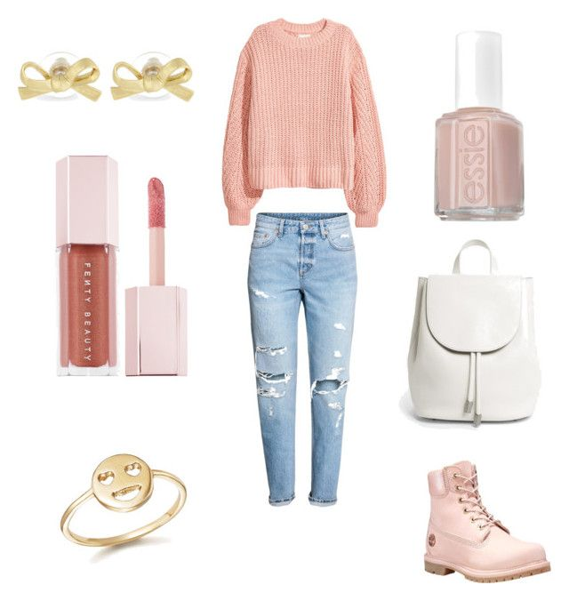 """""""Brzoskwiniowy swetr."""" by aquaflorem on Polyvore featuring H&M, Timberland, Everlane, Puma, Kate Spade, Bing Bang and Essie"""