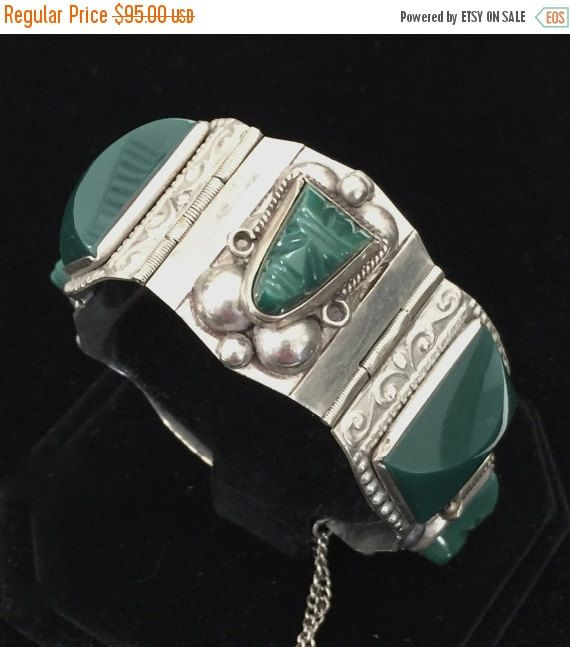 Hey, I found this really awesome Etsy listing at https://www.etsy.com/listing/119105044/taxco-mexican-silver-green-onyx-bracelet