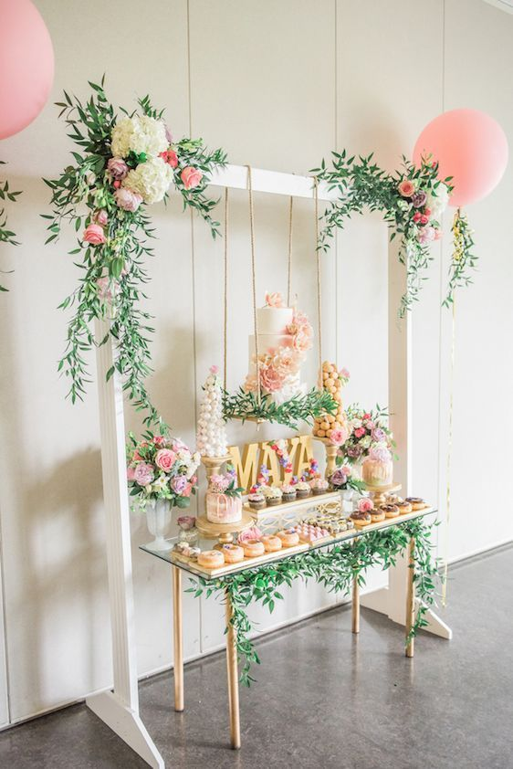 Romantic garden baby birthday