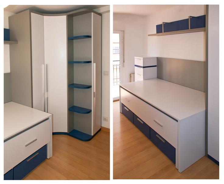 novedades en soluciones mueble juvenil dormitorio juvenil compuesto por terminal zapatero armario rinconero con puerta curva y recta compacto du