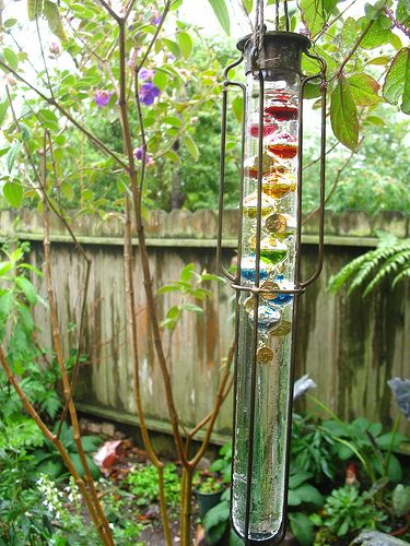 Galileo thermometer for backyard.