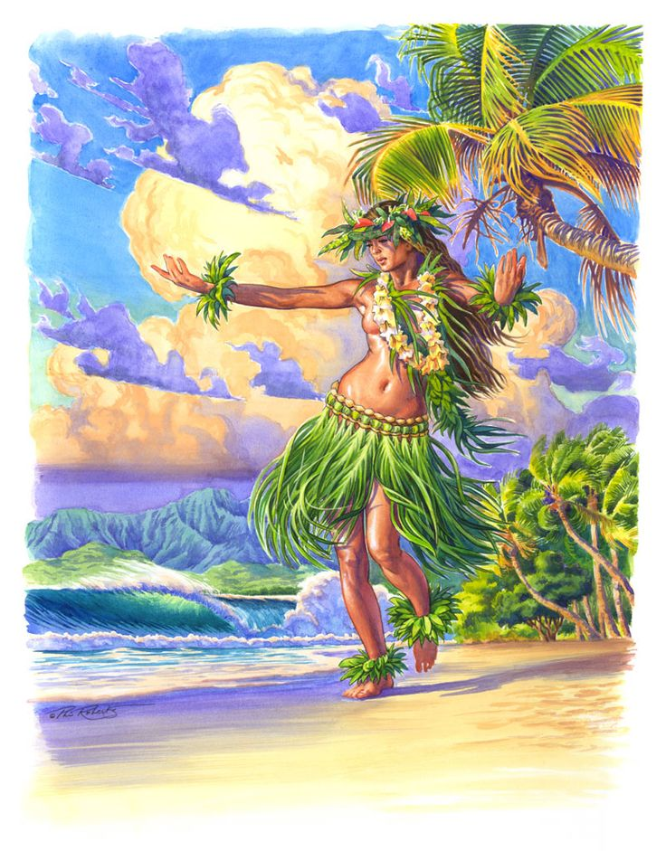 BUY NOW >> $60.00  $45 Grass Skirt Hula Girl Art Print Matted to fit 11″x14″ >>