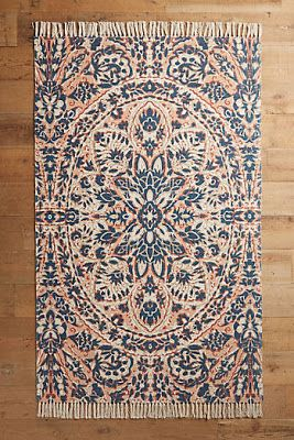 Coral and blue rug