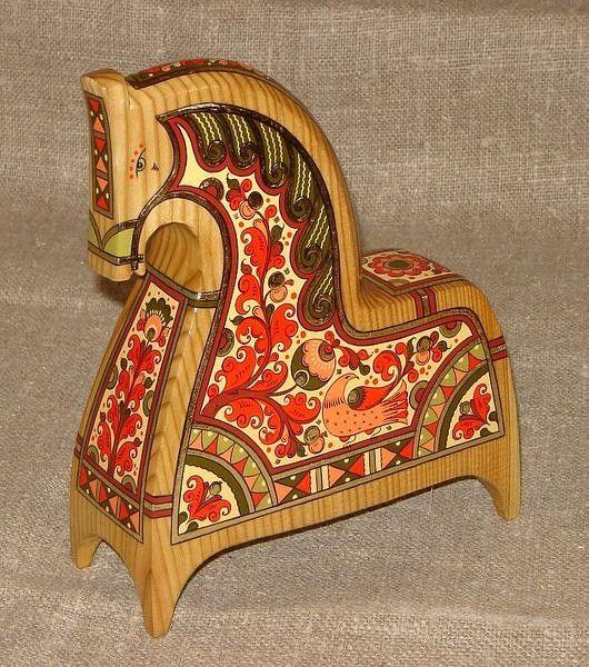 Russian folk art painted wooden horse