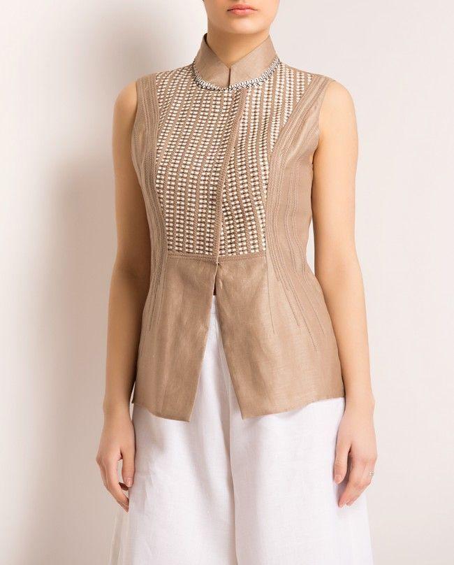Creamy Brown Waistcoat- Buy Spring Summer '14,New Arrival Online