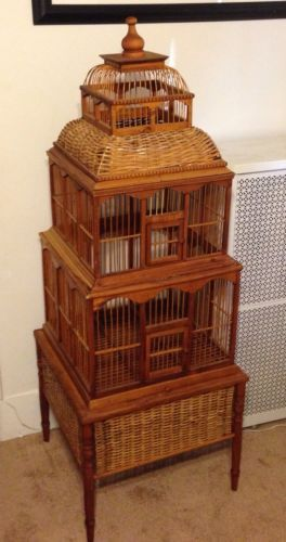 Vintage 1970 S Beautiful Rattan Wood Bird Cage 55 Quot Tall