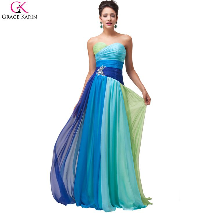 Robe De Soiree Longue Grace Karin Evening Dresses Ombre Chiffon Strapless Long Formal Gowns Elegant Party Dress Evening Dresses-in Evening Dresses from Weddings & Events on Aliexpress.com | Alibaba Group