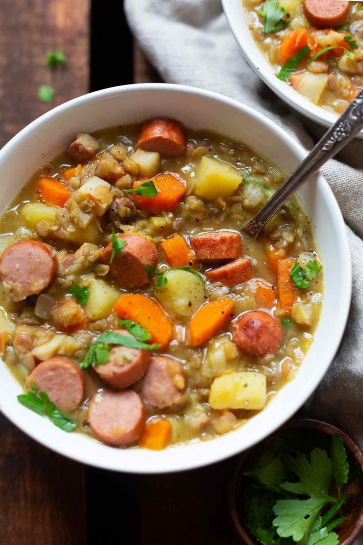 Grandma's lentil soup with sausages   – Thermomix