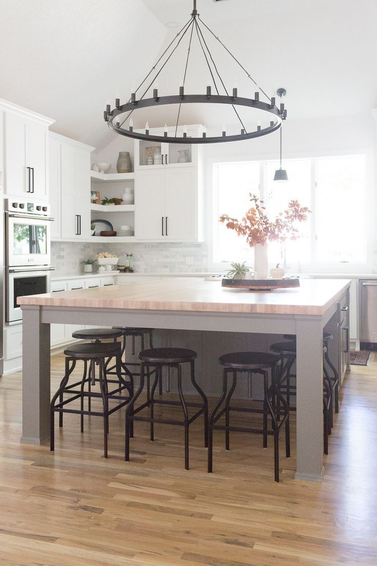 Home decorating diy projects cc and mike tulsa remodel reveal reveal grey island butcher block island butcher block countertops world m kitchen