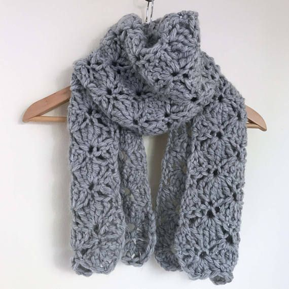 Light grey shell crochet scarf. Extra wide design in a