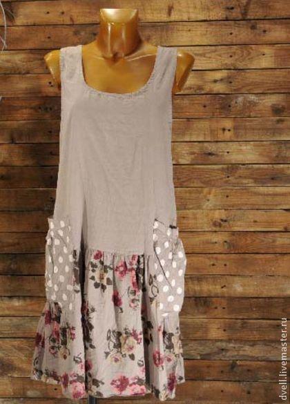 Горошек в цвету , платье кантри 36 38 40 - бежевый,горох с цветами,платье