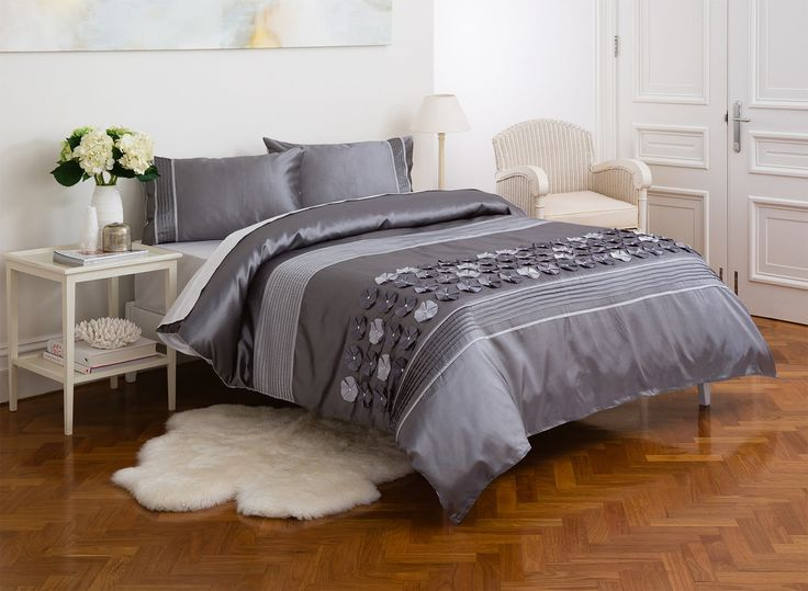 With delicate appliqued flowers combined with textured stripes in soft grey and silver shades, the new Diamondy bedding set will add a stylish and contemporary flourish to any bedroom.  Diamondy Manchester in Silver.  Price: Double $89; Queen $99; King, $109.