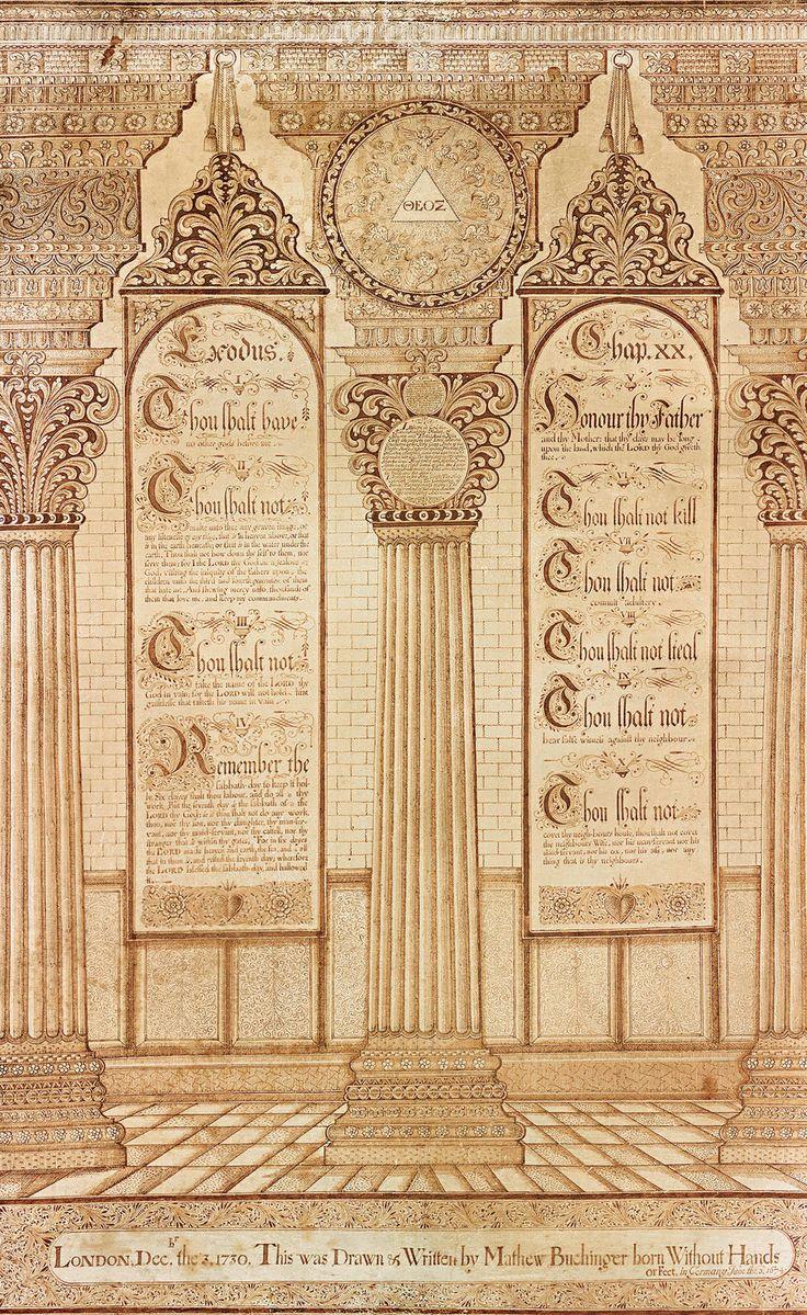 <em>Ten Commandments</em>, London, December 3, 1730, by Matthias Buchinger.