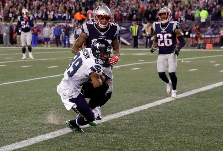 Seahawks vs. Patriots:  31-24, Seahawks  -  November 10, 2016  -    Seattle Seahawks wide receiver Doug Baldwin scores a touchdown in front of New England Patriots safety Patrick Chung during the first half of an NFL football game, Sunday, Nov. 13, 2016, in Foxborough, Mass.