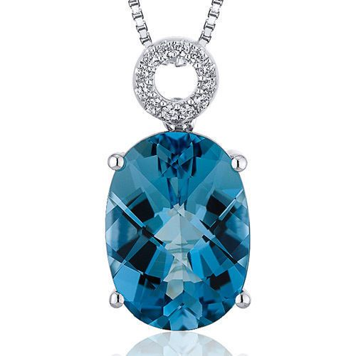 Women's Sterling Silver Oval London Blue Topaz Solitaire Pendant Necklace