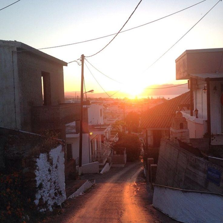 Greece Crete Sunset Street