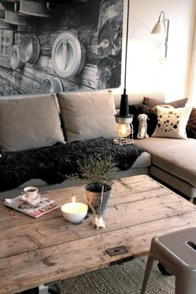 re-purposed wood door Coffee table