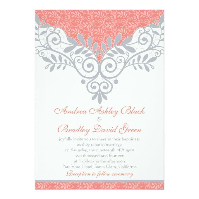 Vintage Coral Silver Grey Lace Wedding Invitation
