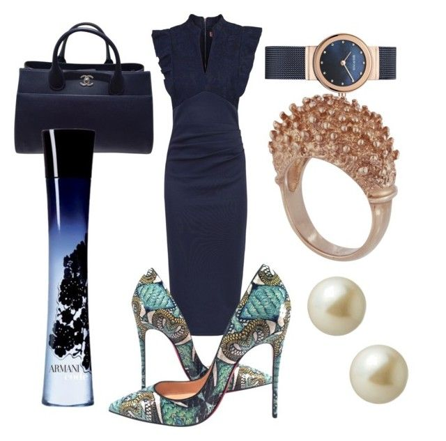 """CEO"" by oana-grigorie on Polyvore featuring Jolie Moi, Christian Louboutin, Chanel, Carolee and Giorgio Armani"