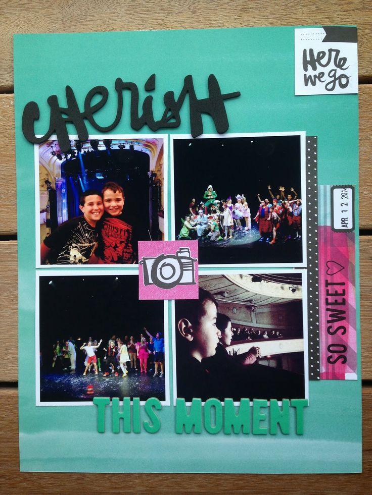 Cherish by Carol Fry, using Polly! Scrap Kits March 2014 Spearmint Leaves scrapbooking kit