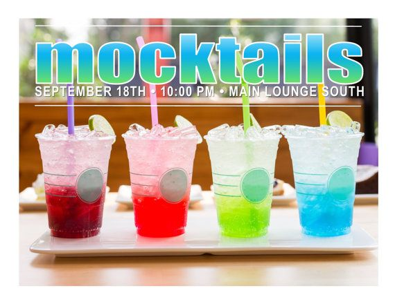 Mocktails Program Flyer - You will find tons of social program ideas and their corresponding downloadable flyers here. You will receive the MS Word and the Publisher version of this flyer so you can change the text using whichever program you have. Super quick and easy for busy RAs!