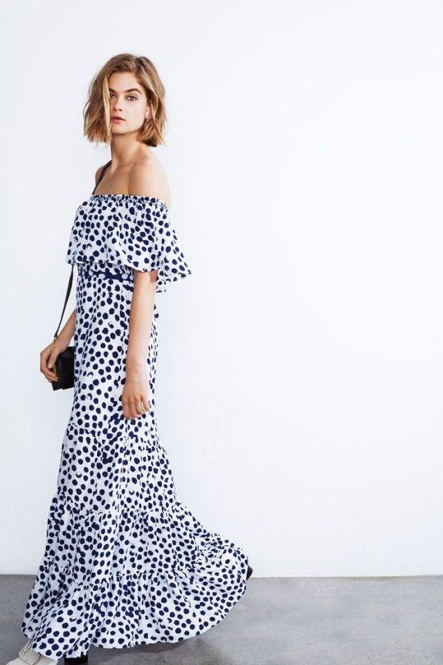 summer-wedding-long-off-the-shoulder-dress-poka-dots-navy-and-white-via-vvogueco.uk