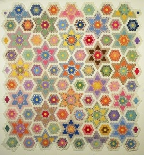Stars and Flowers Hexagon Quilt-