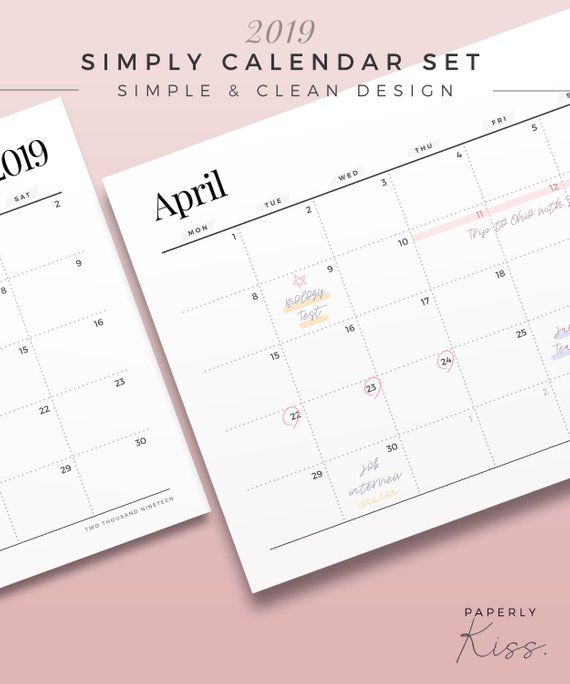 2019 simply calendar set one page monthly planner printable rh pinterest com