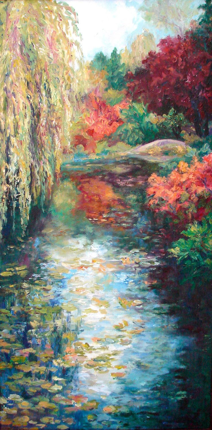 Original Oil Paintings Impressionist Diptych Willow Tree, Butchart Garden, Fall Colors,Water Bridge,Shirin Mackeson