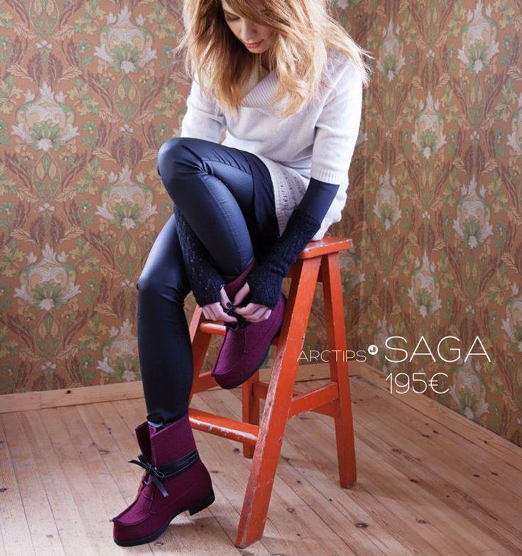 Arctips Saga beak boot in wool felt. www.arctips.fi/en