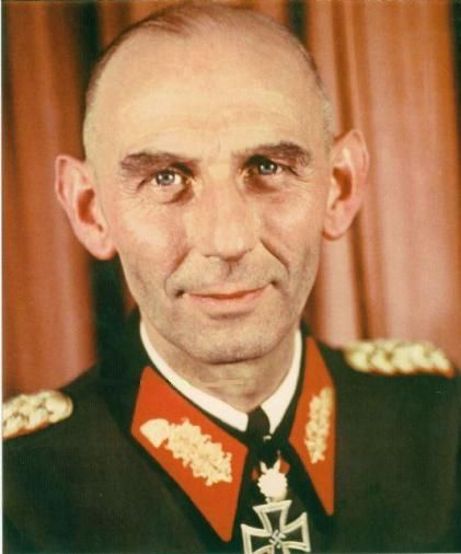 """General der Gebirgstruppe Dipl.-Ing. Johann """"Hans"""" Schlemmer (18 January 1893 – 26 June 1973)  surrendered to Allied troops in Italy in 1945 and released in 1947. Knight's Cross on 21 April 1942 as Generalmajor and commander of 134. Infanterie-Division; 369th Oak Leaves on 18 January 1944 as Generalleutnant and commander of 134. Infanterie-Division"""