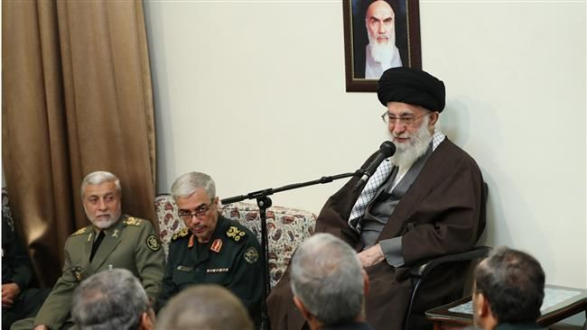 Leader of the Islamic Revolution Ayatollah Seyyed Ali Khamenei speaks in a meeting with top commanders of Iran's Armed Forces in Tehran on April 9, 2017. (Photo by leader.Ir)