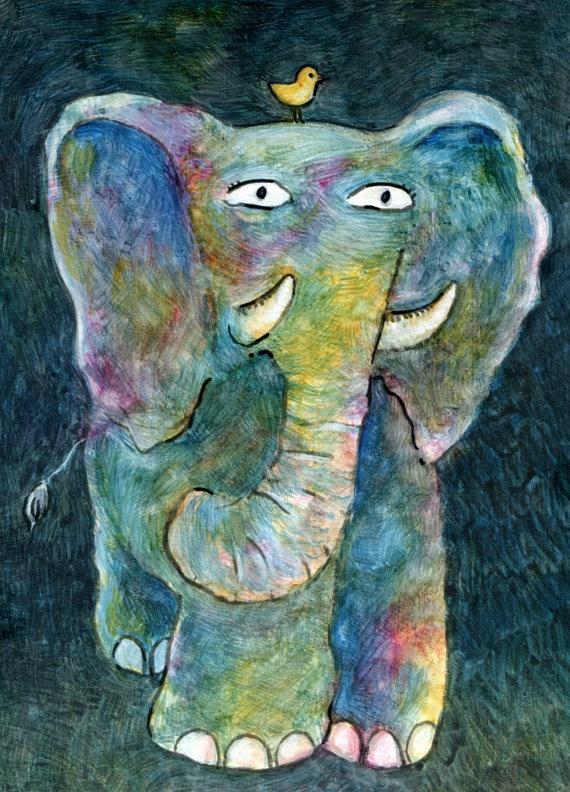 Boris and his best friend Thimble - Original Mixed Media Painting by Francesca Whetnall on Etsy