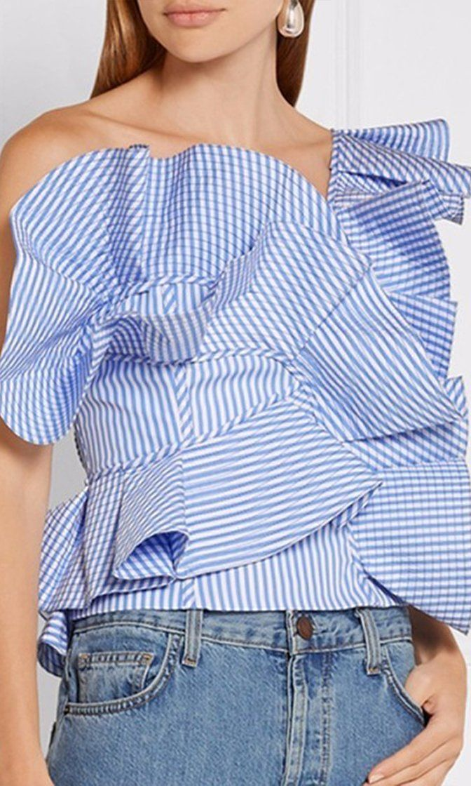 Burst On Scene Ruffle One Shoulder Blouse - 4 Colors Available