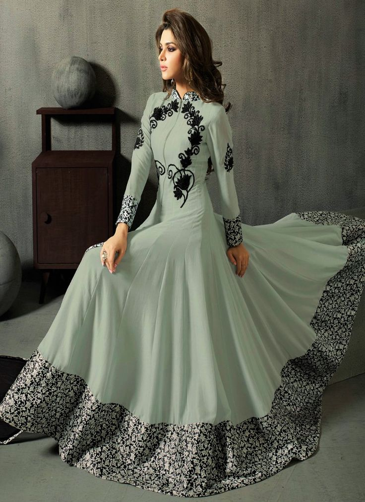 Grey Embroidered Georgette Salwar Suit