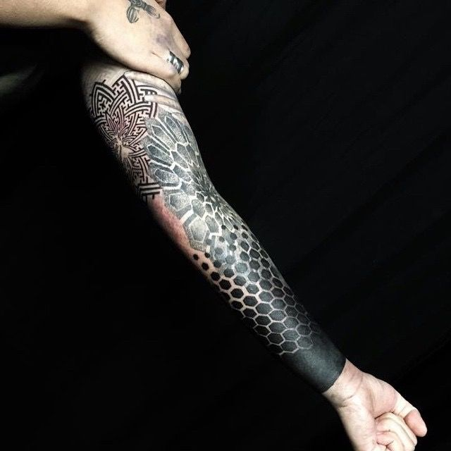 Honeycomb dotwork tattoo - Google Search