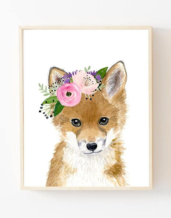 Floral Baby Fox Watercolor Fox Woodland Nursery Art Animal Etsy Animal Nursery Art Baby Animal Prints Woodland Nursery Art