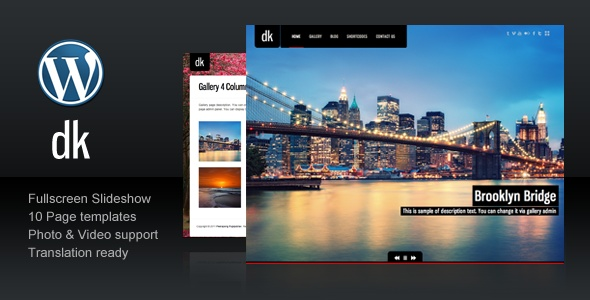 DK is the Premium Photography, Portfolio, Personal website Template built with latest Wordpress features. Custom Post Type, Unlimited Colors and Image Uploader etc.
