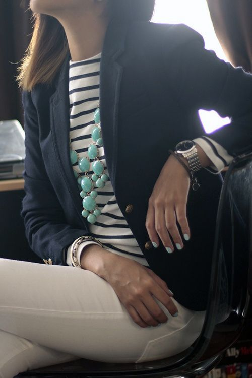 Navy blazer jacket, white and blue striped shirt top and a mint bubble bib statement necklace. Top it of with mint nail polish.
