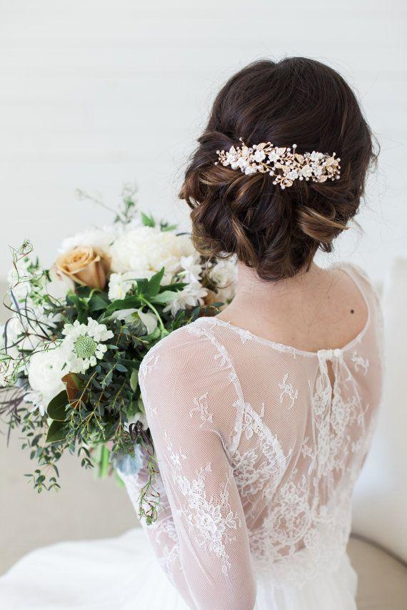 Gold Flower Headpiece Ivory Flower Hair Clips Wedding Hair