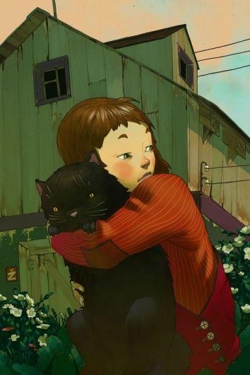 Mooie illustratie van meisje die over haar schouder kijkt met kat