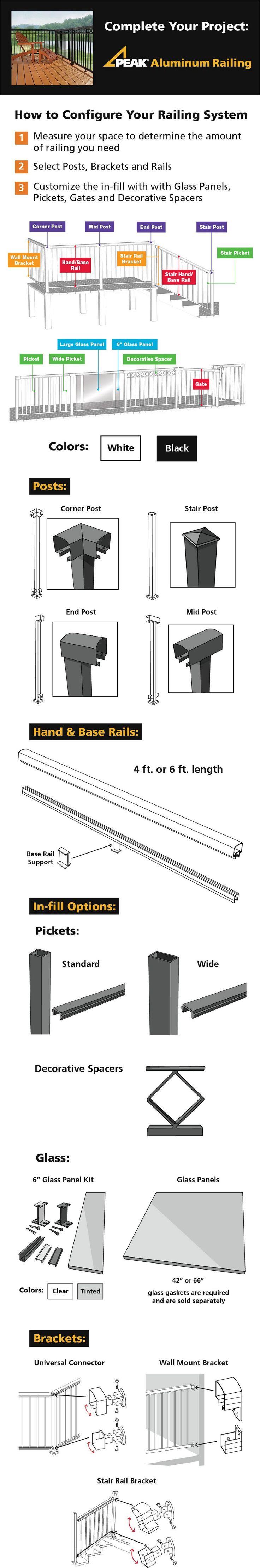 Peak Aluminum Railing 6 in. Clear Glass Panel Kit-50710 - The Home Depot