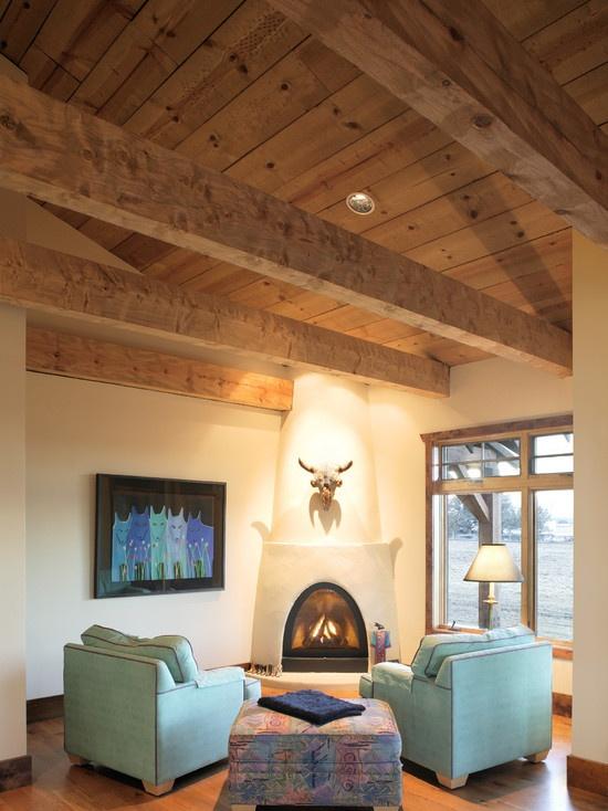 cozy kiva: House Design, Fireplaces Design, Southwestern Decor, Design Ideas, Southwestern Style, Home Decor, Corner Fireplaces, Traditional Living Rooms, Fireplaces Ideas