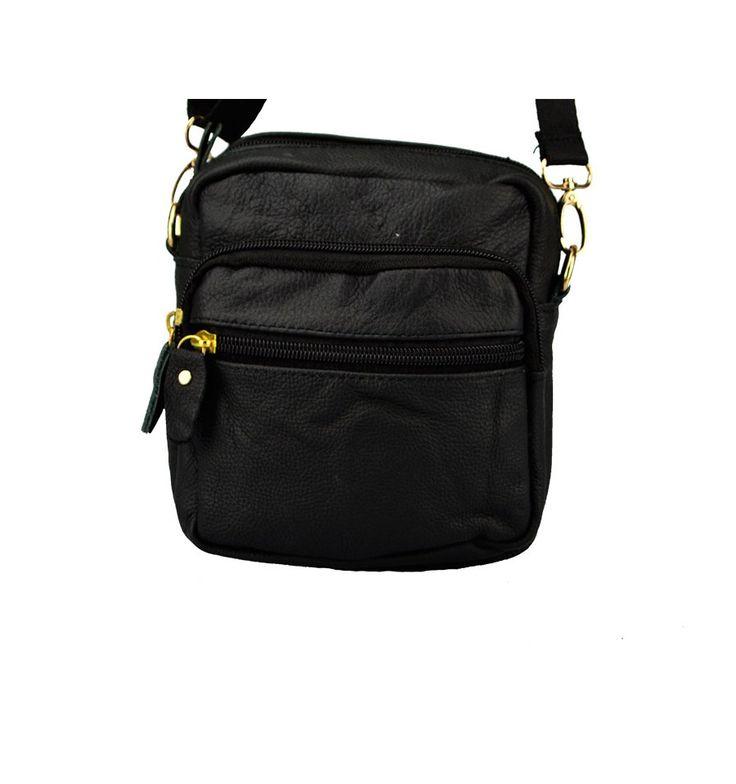 Taske fra Yuqilin i sort kalveskind med praktisk lang rem og gode rum