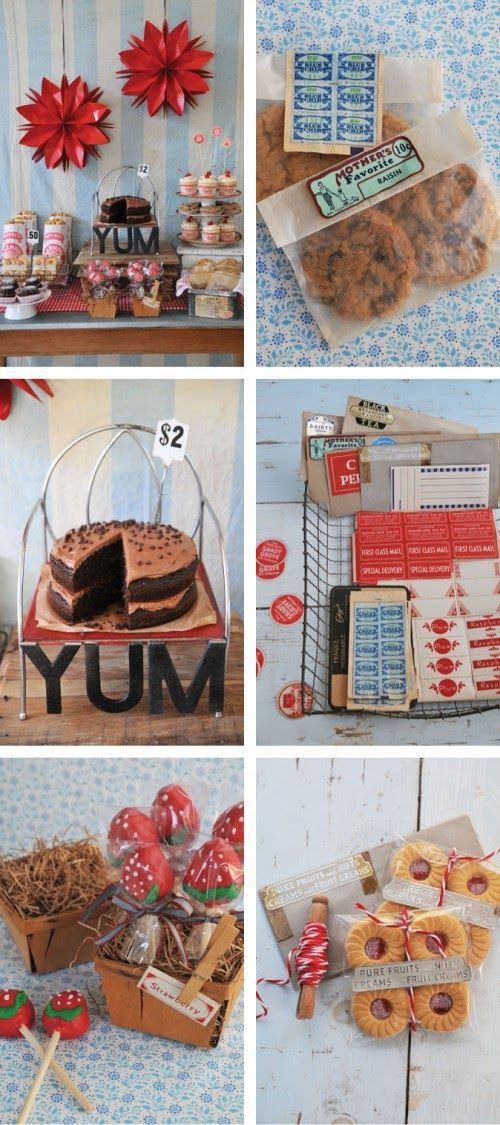 """Vintage packaging...what a fun way to display your red velvet cupcakes and sugar cookies! Hope you enjoy some inspiration for your next vintage Bake sale or Baking party. Vintage packing also makes for fun combined with these themes """"vintage carnival"""", """"vintage ice cream shop"""", """"Fresh picked strawberries"""", """"pop shop"""". Read below for tips and where to find!"""