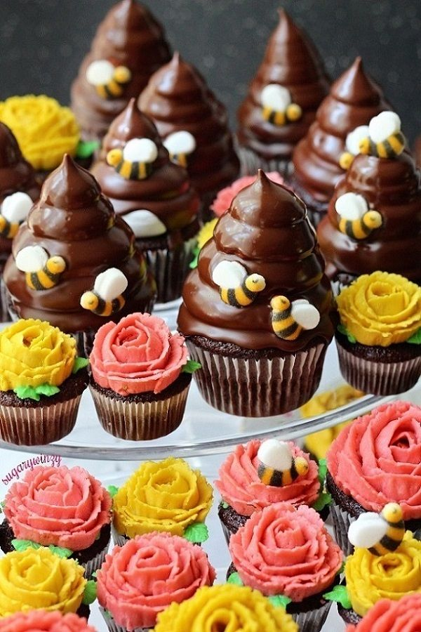 Chocolate Beehive and Rose Flower Cupcakes | Sugary Winzy